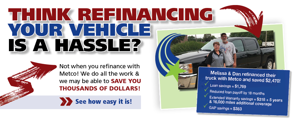 Think refinancing your vehicle is a hassle - not when you refinance with Metco - see how easy it is.