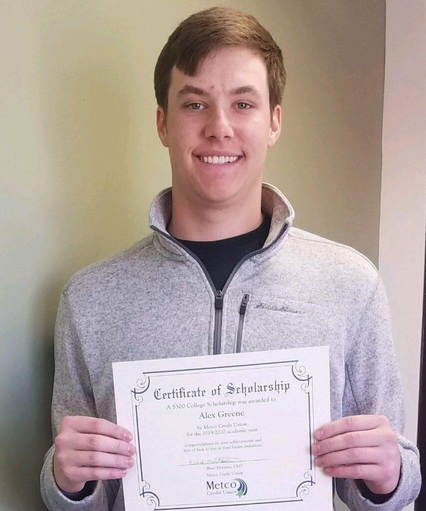 2019 College Scholarship Winner, Alex Greene