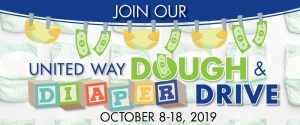 Join our Dough & Diaper Drive to benefit the United Way!