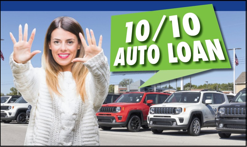 "Image of young woman holding up 10 fingers with the text ""10/10 Auto Loan"""